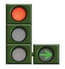 Flecha verde sobre fondo circular negro