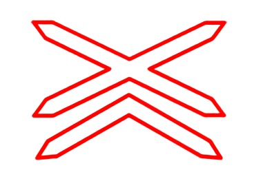 señal P-11a Situación de un paso a nivel sin barreras de más de una vía férrea