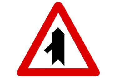 señal P-1d Intersección con prioridad sobre incorporación por la izquierda