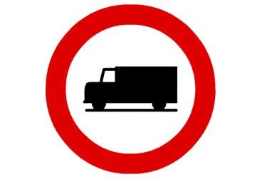 señal R-106 Entrada prohibida a vehículos destinados al transporte de mercancías