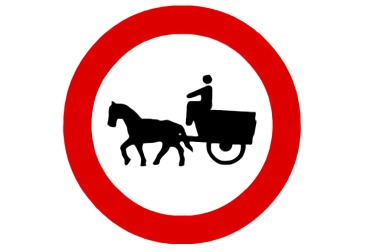 señal R-113 Entrada prohibida a vehículos de tracción animal