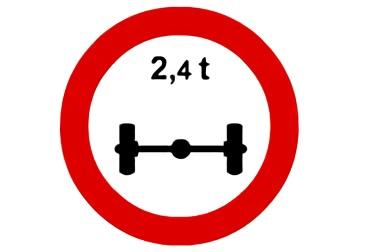 señal R-202 limitación de masa por eje