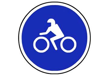 señal R-405 Calzada para motocicletas sin sidecar
