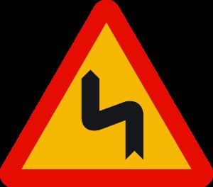 señal de obras TP-14b curvas peligrosas hacia la izquierda