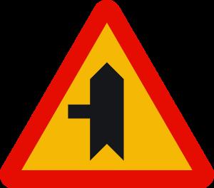 señal de obras TP-1b intersección con prioridad sobre vía a la izquierda