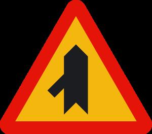 señal de obras TP-1d intersección con prioridad sobre incorporación por la izquierda