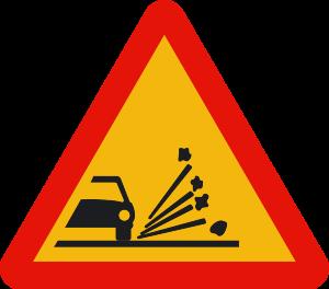 señal de obras TP-28 proyección de gravilla
