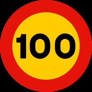 señal de obras TR-301-100 prohibición velocidad máxima a 100 km h