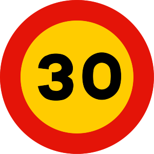 señal de obras TR-301-30 prohibición velocidad máxima a 30 km h