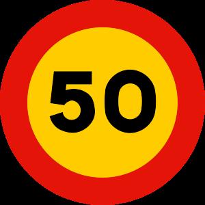 señal de obras TR-301-50 prohibición velocidad máxima a 50 km h