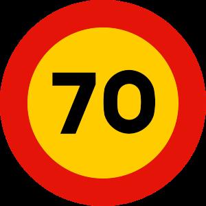 señal de obras TR-301-70 prohibición velocidad máxima a 70 km h