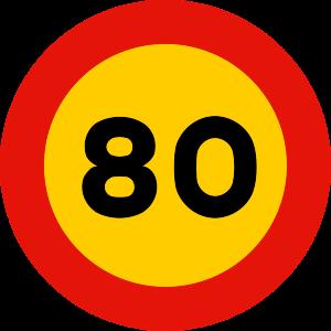 señal de obras TR-301-80 prohibición velocidad máxima a 80 km h