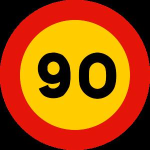 señal de obras TR-301-90 prohibición velocidad máxima a 90 km h